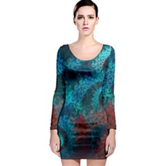 Abstract Patterns Spiral Long Sleeve Bodycon Dress