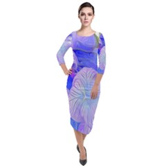 Flowers Abstract Colorful Art Quarter Sleeve Midi Velour Bodycon Dress