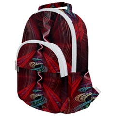 Patterns Red Abstract Rounded Multi Pocket Backpack