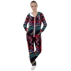 Patterns Red Abstract Women s Tracksuit