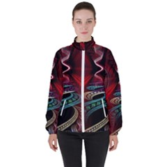 Patterns Red Abstract Women s High Neck Windbreaker