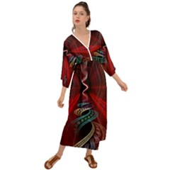Patterns Red Abstract Grecian Style  Maxi Dress
