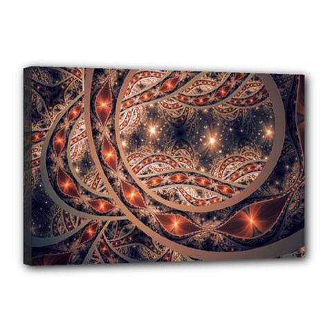 Fractal Patterns Abstract Dark Canvas 18  X 12  (stretched)