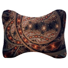 Fractal Patterns Abstract Dark Velour Seat Head Rest Cushion