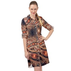 Fractal Patterns Abstract Dark Long Sleeve Mini Shirt Dress