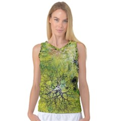 Abstract Spots Lines Green Women s Basketball Tank Top