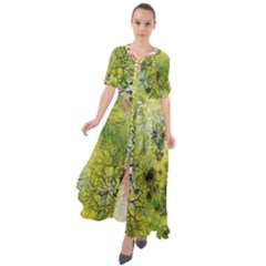 Abstract Spots Lines Green Waist Tie Boho Maxi Dress