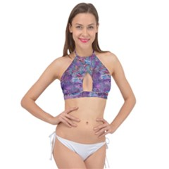 Stains Circles Watercolor Colorful Abstract Cross Front Halter Bikini Top