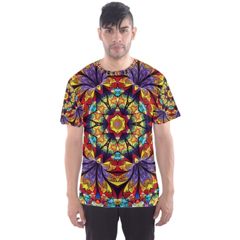 Geometric Pattern Kaleidoscope Art Mirror Image Mosaic Men s Sports Mesh Tee by Vaneshart