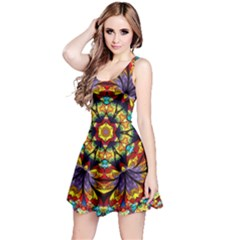 Geometric Pattern Kaleidoscope Art Mirror Image Mosaic Reversible Sleeveless Dress