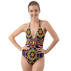 Geometric Pattern Kaleidoscope Art Mirror Image Mosaic Halter Cut Out One Piece Swimsuit