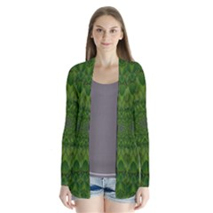 Fauna Nature Ornate Leaf Drape Collar Cardigan by pepitasart
