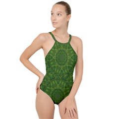 Fauna Nature Ornate Leaf High Neck One Piece Swimsuit by pepitasart