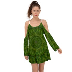 Fauna Nature Ornate Leaf Kimono Sleeves Boho Dress