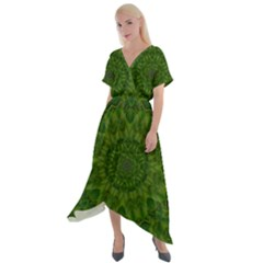 Fauna Nature Ornate Leaf Cross Front Sharkbite Hem Maxi Dress by pepitasart