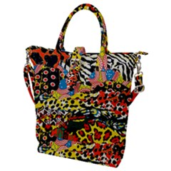 Ethnic Patchwork Buckle Top Tote Bag by AyokaDesigns