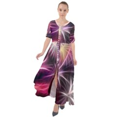 Fireworks Rocket Night Lights Flash Waist Tie Boho Maxi Dress