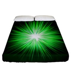 Green Blast Background Fitted Sheet (california King Size) by Mariart