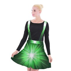 Green Blast Background Suspender Skater Skirt