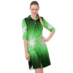Green Blast Background Long Sleeve Mini Shirt Dress