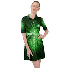 Green Blast Background Belted Shirt Dress by Mariart
