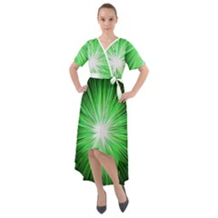 Green Blast Background Front Wrap High Low Dress