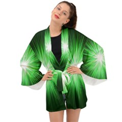 Green Blast Background Long Sleeve Kimono