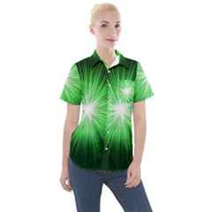 Green Blast Background Women s Short Sleeve Pocket Shirt