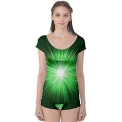 Green Blast Background Boyleg Leotard  by Mariart