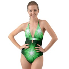 Green Blast Background Halter Cut-out One Piece Swimsuit