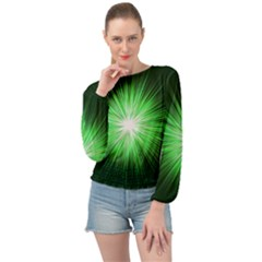 Green Blast Background Banded Bottom Chiffon Top