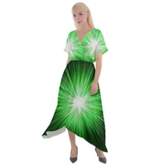 Green Blast Background Cross Front Sharkbite Hem Maxi Dress