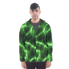 Lightning Electricity Pattern Green Men s Hooded Windbreaker