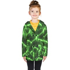Lightning Electricity Pattern Green Kids  Double Breasted Button Coat