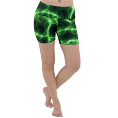 Lightning Electricity Pattern Green Lightweight Velour Yoga Shorts