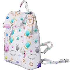 Shapes Stars Moon Sun Pattern Buckle Everyday Backpack