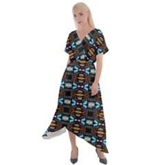 Abstract 15 Cross Front Sharkbite Hem Maxi Dress