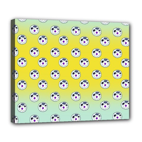 English Breakfast Yellow Pattern Mint Ombre Deluxe Canvas 24  X 20  (stretched)