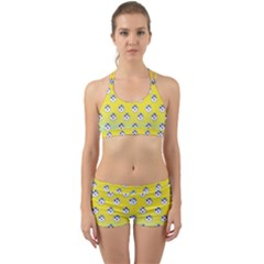 English Breakfast Yellow Pattern Mint Ombre Back Web Gym Set