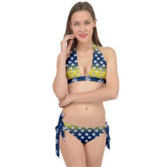 English Breakfast Yellow Pattern Blue Ombre Tie It Up Bikini Set