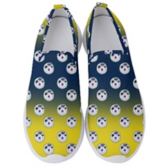 English Breakfast Yellow Pattern Blue Ombre Men s Slip On Sneakers by snowwhitegirl
