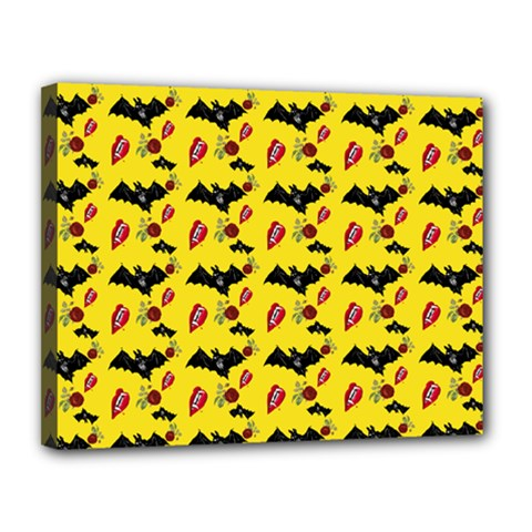 Bat Rose Lips Yellow Pattern Canvas 14  X 11  (stretched)