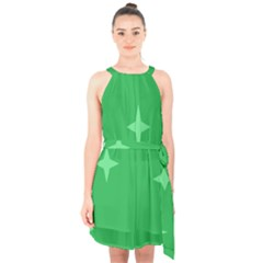 Green Stars Halter Collar Waist Tie Chiffon Dress by Lotus