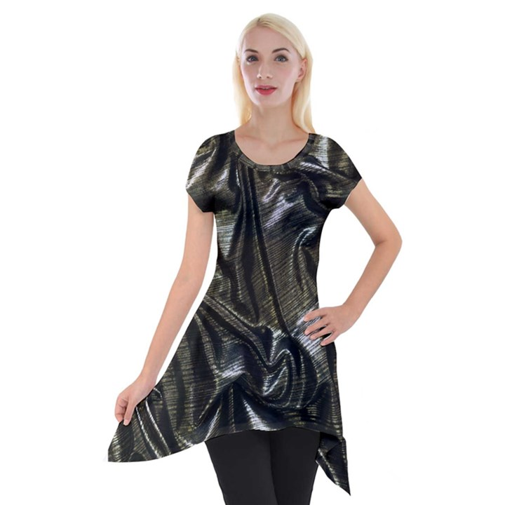 Metallic Silver Satin Short Sleeve Side Drop Tunic