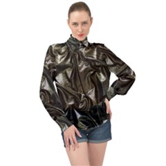 Metallic Silver Satin High Neck Long Sleeve Chiffon Top by retrotoomoderndesigns