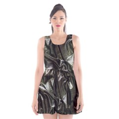 Metallic Silver Satin Scoop Neck Skater Dress