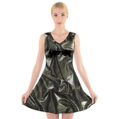 Metallic Silver Satin V Neck Sleeveless Dress