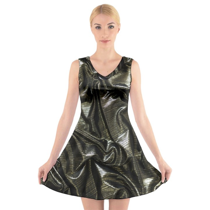 Metallic Silver Satin V-Neck Sleeveless Dress