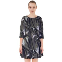 Metallic Silver Satin Smock Dress