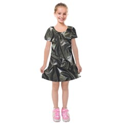 Metallic Silver Satin Kids  Short Sleeve Velvet Dress by retrotoomoderndesigns